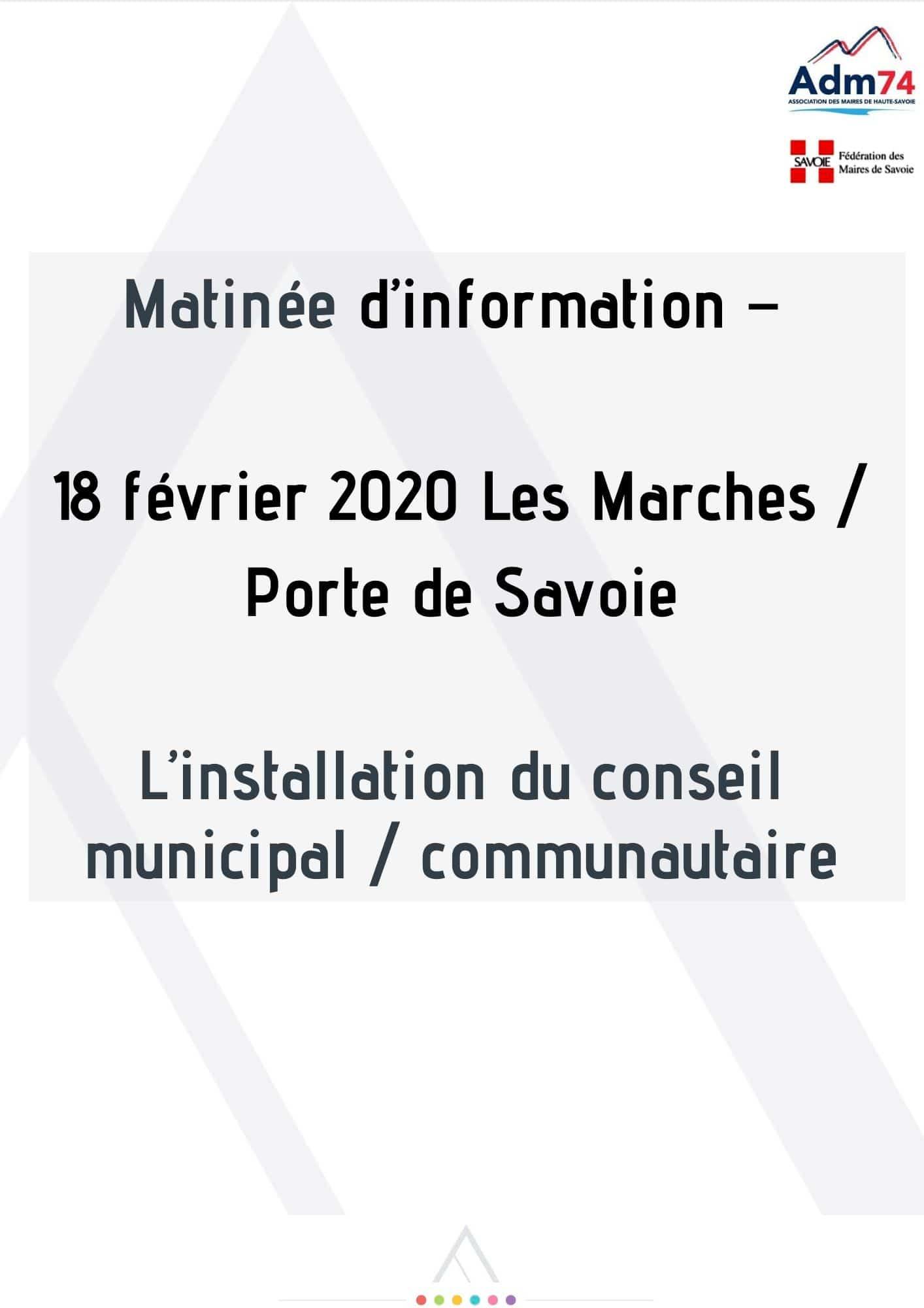 Présentation de l'installation du premier conseil municipal / communautaire