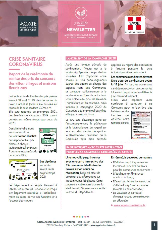Newsletter Fleurissement – juin 2020