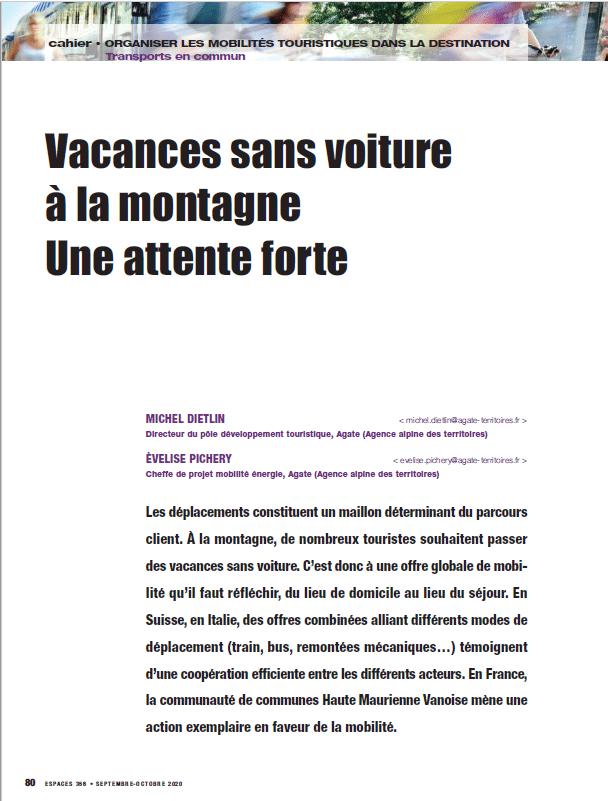 Article «Vacances sans voiture à la montagne : Une attente forte» – Revue Espaces – octobre 2020