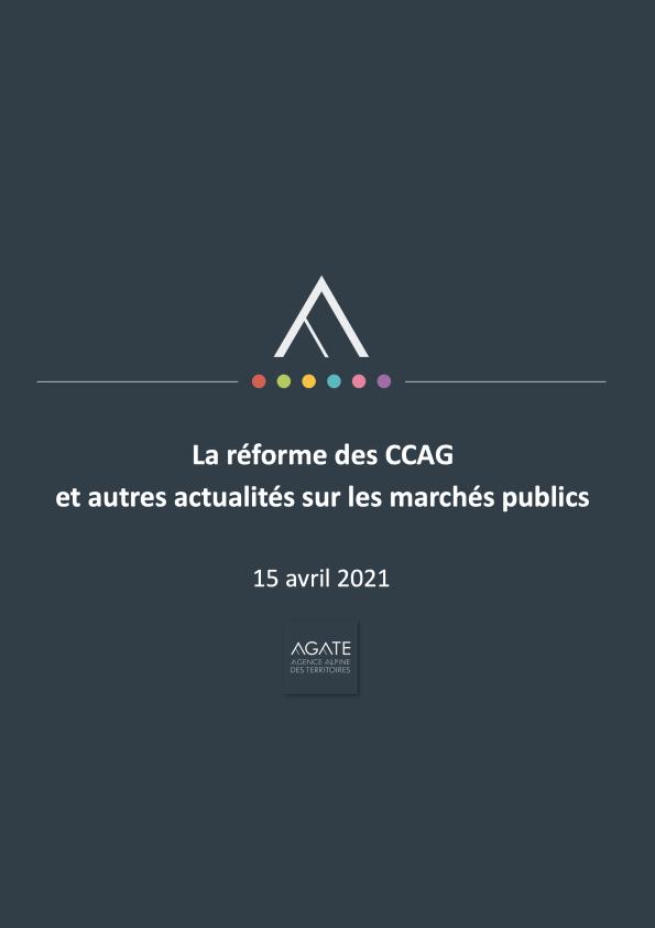 La réforme des CCAG et autres actualités sur les marchés publics